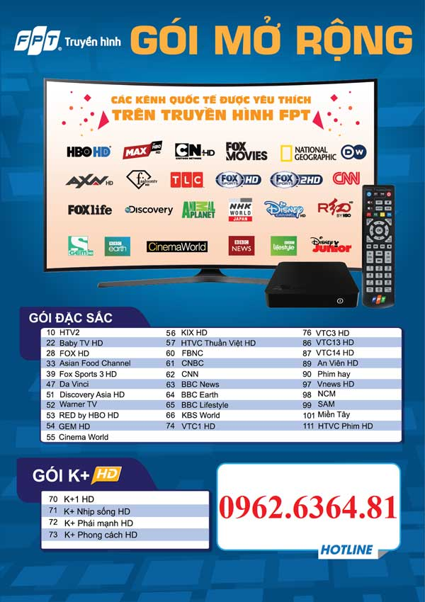 danh sách kênh truyền hình fpt gói mở rộng